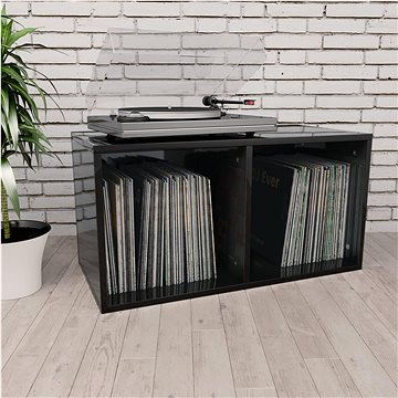 Úložný box na LP desky černý vysoký lesk 71x34x36cm dřevotříska (800124)