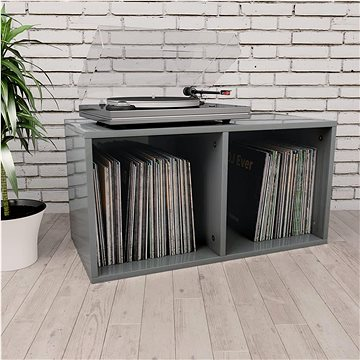 Úložný box na LP desky šedý vysoký lesk 71x34x36 cm dřevotříska (800125)