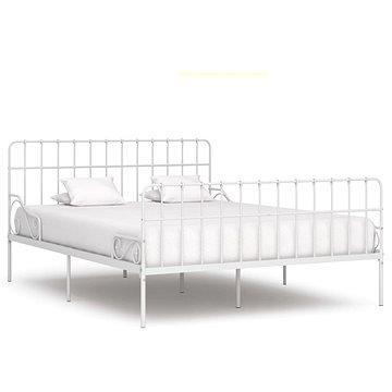 Rám postele s laťkovým roštem bílý kov 180x200 cm (284606)