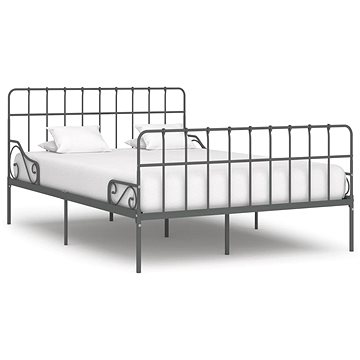 Rám postele s laťkovým roštem šedý kov 160x200 cm (284619)