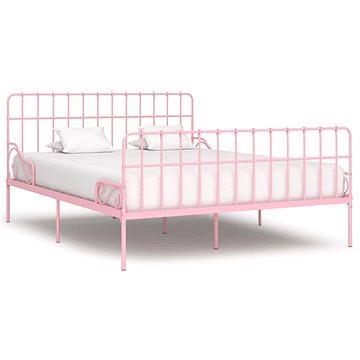 Rám postele s laťkovým roštem růžový kov 180x200 cm (284627)