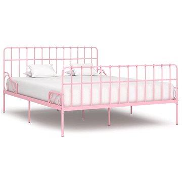 Rám postele s laťkovým roštem růžový kov 200x200 cm (284628)