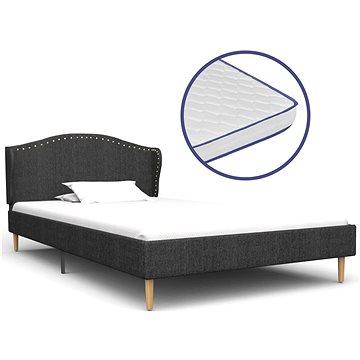 Postel s matrací s paměťovou pěnou tmavě šedá textil 90x200 cm (278378)