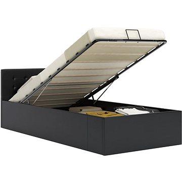 Rám postele s úložným prostorem černý umělá kůže 100x200 cm (285511)