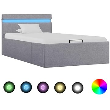 Rám postele s úložným prostorem LED světle šedý textil 90x200cm (285606)