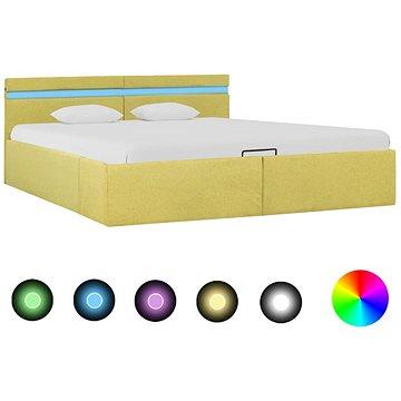 Rám postele s úložným prostorem LED zelený textil 180x200 cm (285623)