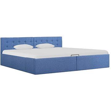 Rám postele s úložným prostorem modrý textil 180x200 cm (285587)
