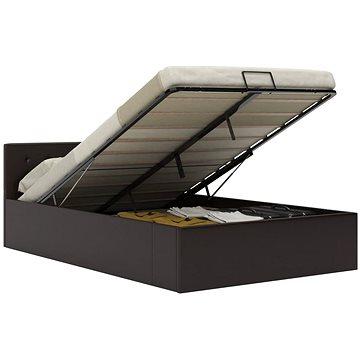 Rám postele s úložným prostorem šedý umělá kůže 140x200 cm (285525)