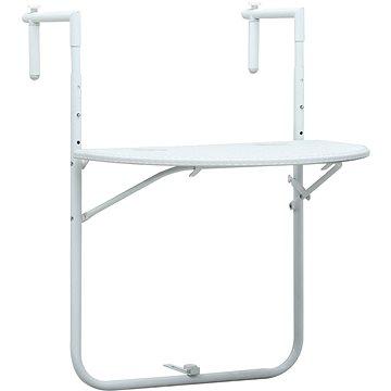 Závěsný stůl na balkon bílý 60x64x83,5 cm plast ratanový vzhled (47893)