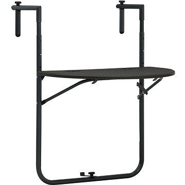 Závěsný stůl na balkon hnědý 60x64x83,5 cm plast imitace ratanu (47895)