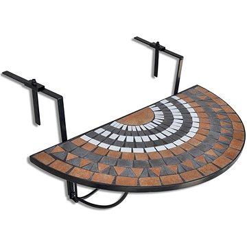 Závěsný stolek na balkon bílý a barva terakota mozaika (41126)