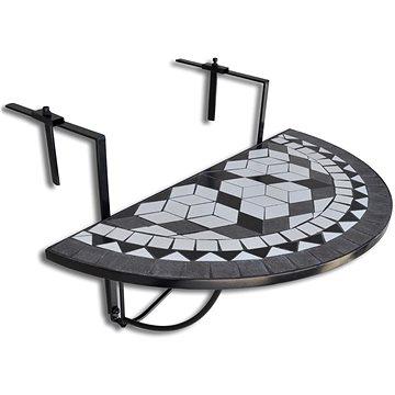 Závěsný stolek na balkon černo-bílý mozaika (41125)