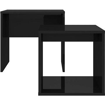 Set konferenčních stolků černý vysoký lesk 48x30x45 dřevotříska (802892)
