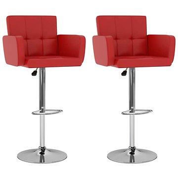 Barové stoličky 2 ks červené umělá kůže (323655)