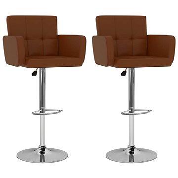 Barové stoličky 2 ks hnědé umělá kůže (323656)