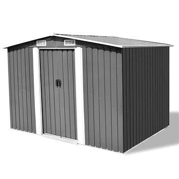 Zahradní domek na nářadí šedý kovový 257 x 205 x 178 cm (42907)