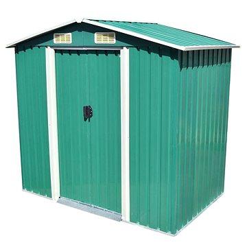 Zahradní domek na nářadí zelený kovový 204x132x186 cm (42909)