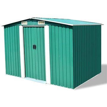 Zahradní domek na nářadí zelený kovový 257x205x178 cm (42910)