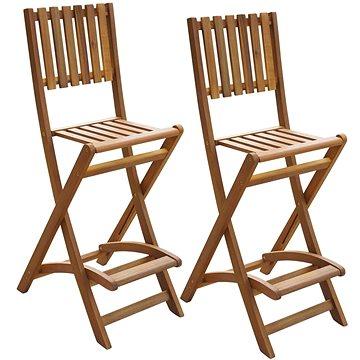 Skládací zahradní barové stoličky 2 ks masivní akácie (42656)