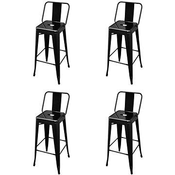 Barové stoličky 4 ks černé ocel (3052640)