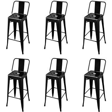 Barové stoličky 6 ks černé ocel (3052641)