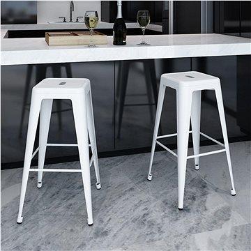 Barové stoličky 2 ks bílé ocel (240925)