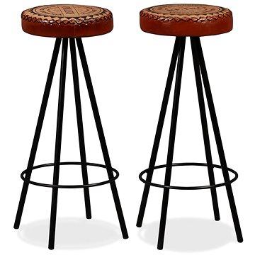 Barové stoličky 2 ks pravá kůže (245447)