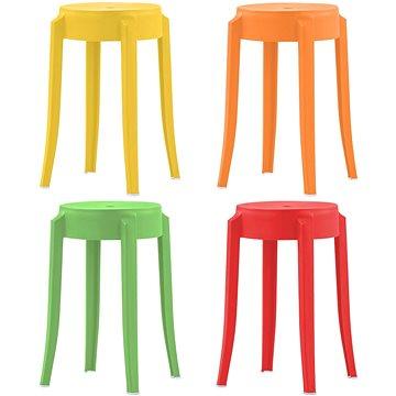 Stohovatelné stoličky 4 ks různobarevné plast (247280)