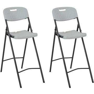 Skládací barové židle 2 ks HDPE a ocel bílé 44561 (44561)