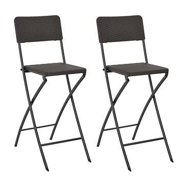 Skládací barové židle 2 ks HDPE a ocel hnědé ratanový vzhled 44558 (44558)