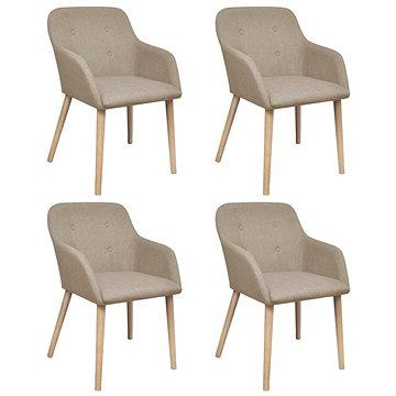 Jídelní židle 4 ks béžové textil a masivní dubové dřevo (270570)