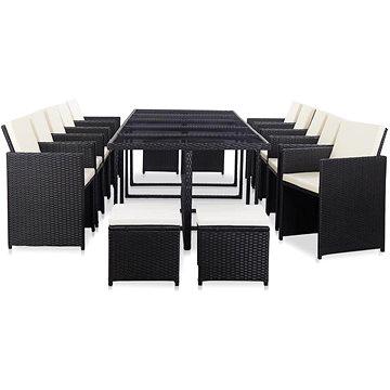 15dílný zahradní jídelní set s poduškami polyratan černý 46420 46420 (46420)
