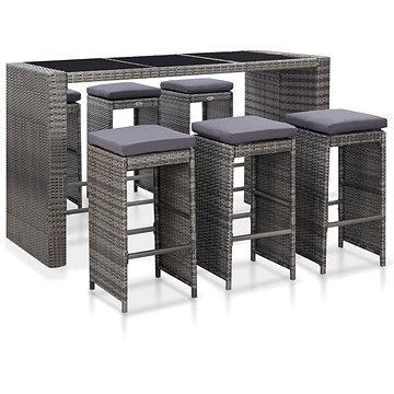 7dílný zahradní barový set s poduškami polyratan šedý 46095 46095 (46095)