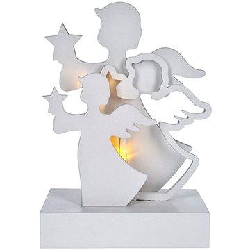 LED andělé, dřevo, bílá barva, 2x AA (1V219)
