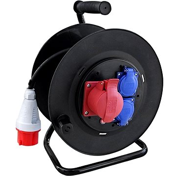 Solight venkovní prodlužovací přívod na bubnu, venkovní, 400V + 230V, 25m, gumový kabel 3x1,5mm2, IP