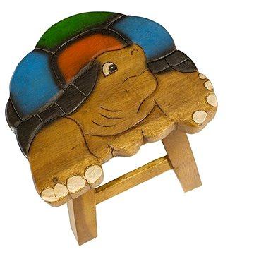 Dřevěná dětská stolička - BAREVNÁ ŽELVA (757132884366)