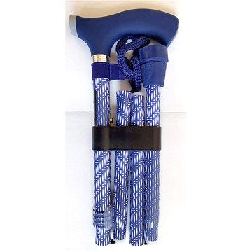 Sundo Skládací podpůrná hůl se silikonovou rukojetí, výška 85 - 95 cm, modro-bílá (S-35117)