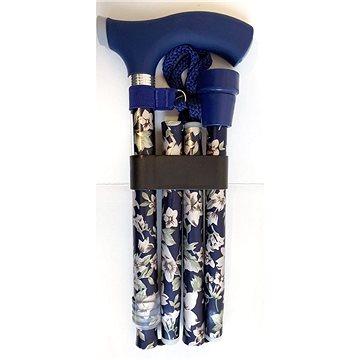 Sundo Skládací podpůrná hůl se silikonovou rukojetí, výška 85 - 95 cm, modré květiny (S-35125)