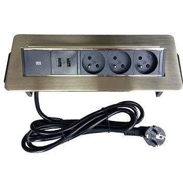 IN Výklopná lišta, 3 zásuvky + 2 USB (553010)