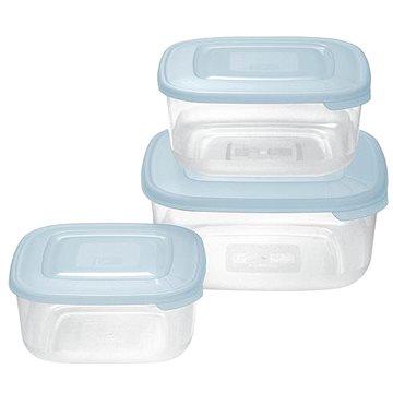 Tontarelli Dóza na potraviny 3ks čtverec modrá transparent (9040637787K20)