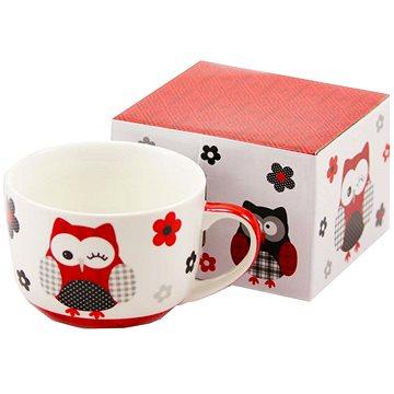HOME ELEMENTS Porcelánový hrnek 500 ml - červená sova (8595556414538)