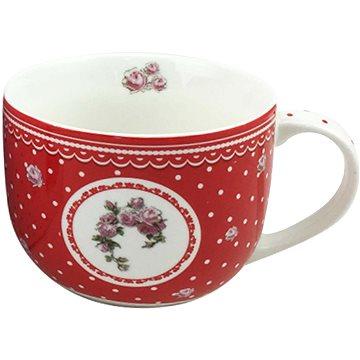 HOME ELEMENTS Porcelánový hrnek Elegant red 500 ml - bílé tečky (8595556422014)