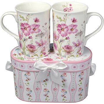 HOME ELEMENTS Porcelánové hrnky 2 ks – Růžové květiny (8595556440919)