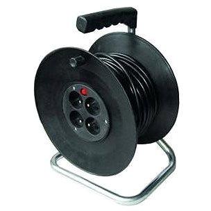 Solight Prodlužovací přívod na bubnu, 4 zásuvky, černý, 50m (PB02)