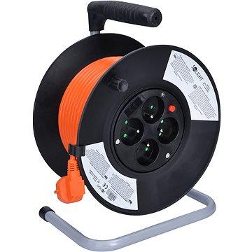 Solight Prodlužovací přívod na bubnu, 4 zásuvky, oranžový, 25m (PB03)