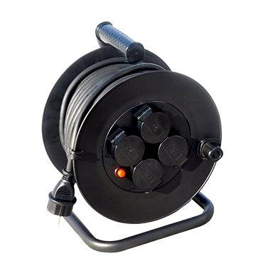 Solight prodlužovací přívod na bubnu, venkovní, 4 zásuvky, černý, 25m (PB33)