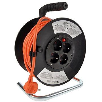 Solight Prodlužovací přívod na bubnu, 4 zásuvky, oranžový, 25m (PB15O)