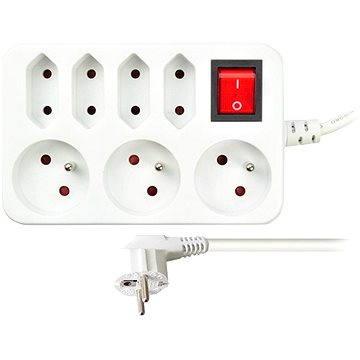 Solight Prodlužovací přívod, 7 zásuvek, bílý, vypínač, 2m (PP141)