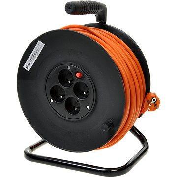 PremiumCord prodlužovací kabel 230V 50m buben, 4x zásuvka, oranžový (ppb-01-50)
