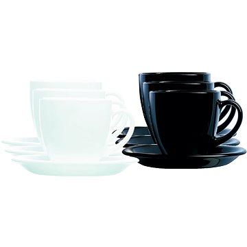 Luminarc Sada 6 ks šálků s podšálkem 200ml CARINE černá/bílá (026102900987)